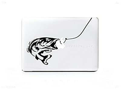 "Fishing Hook Bass Sticker Decal For MacBook Pro 13"" 15"" 17"" Universal Sticker. 6 Year Guarantee from DT Concepts, LLC"