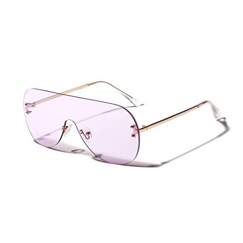 WULE-RYP Polarisierte Sonnenbrille mit UV-Schutz Womens Persönlichkeit Mode Frosch Spiegel Siamesische Randlose Brille, Dekorative Gläser. Superleichtes Rahmen-Fischen, das Golf fährt (Farbe : Lila)