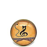 Bague ronde cabochon * chat * note de musique noir jaune moutarde bague réglable bronze bijou fantaisie idée cadeau noël anniversaire cadeau copines.