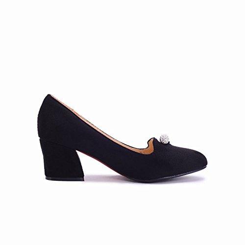 Mee Shoes Damen bequem Nubukleder Strass chunky heels Pumps