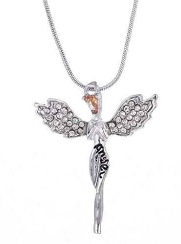 FÉeries et merveilles figurine angelo-collana e ciondolo angelo (colore argento)-statuette angelo-cristalli swarovski r