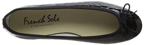 French Sole Henrietta Patent Croc, Ballerine Donna Nero (Black (nero))