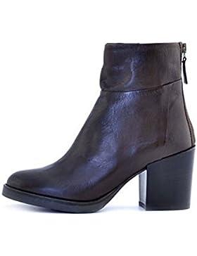Scarpe stivaletti tronchetti donna Manas numero 40 152M1404SQTMORO in pelle marrone con tacco comodo