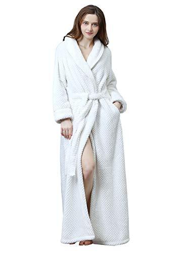 lange fleece bademantel warm gürtel super soft spa plüsch ganzkörper bademantel mit schalkragen large/x-large weiß ()
