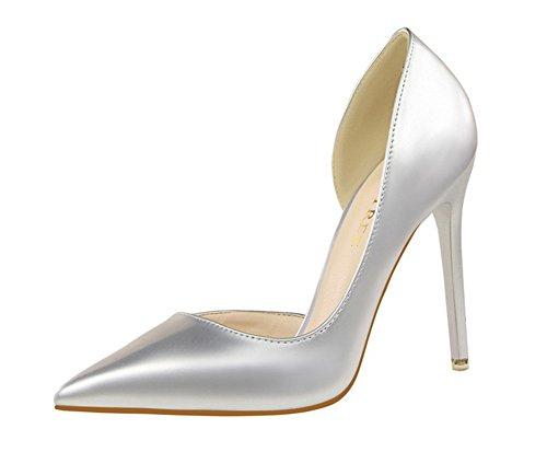 Wealsex stiletto high heels damen elegant pumps Silber
