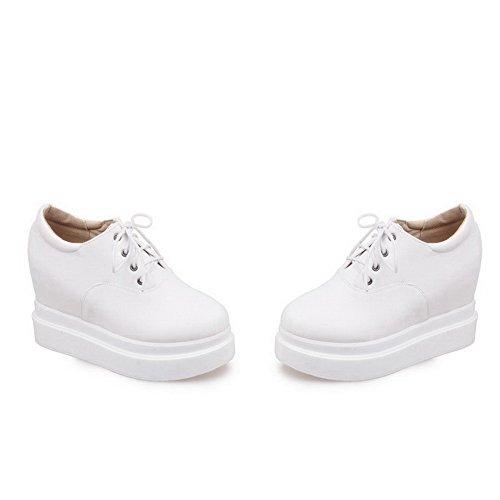 VogueZone009 Femme Lacet Pu Cuir à Talon Haut Couleur Unie Chaussures Légeres Blanc