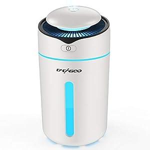 CACAGOO Mini Ultraschall Luftbefeuchter 300ml USB Humidifiers mit 7-farbige LED-Lichter, 30ml/h Automatische Abschaltung Leise Raumbefeuchter für Kinderzimmer, Schlafzimmer, Büro, Auto (weiß)