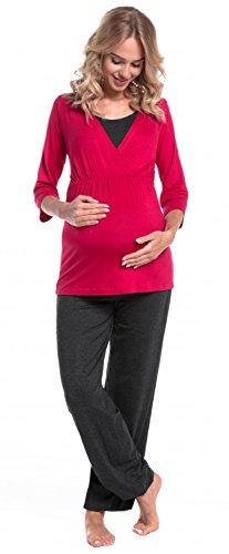 HAPPY MAMA. Femme Maternité Pyjama de Nuit Grossesse Allaitement Vêtement. 060p (Framboise & Graphite Mélange, EU 42, XL)