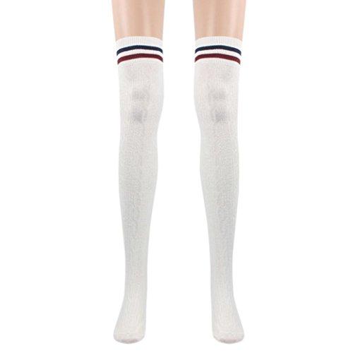 TWIFER Mädchen College Wind Oberschenkel Hohe Socken Damen Strümpfe über das Knie Baumwollsocken (Weiß, 60cm/23.63
