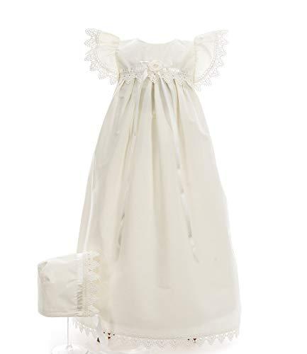 Ausverkauf! Taufkleid traditionell lang aus 100% Baumwolle Maxim Elfenbein Grösse 62 Kurzarm Babybekleidung Baby-Mädchen Prinzessin Kleid Festzug Taufkleid Hochzeit
