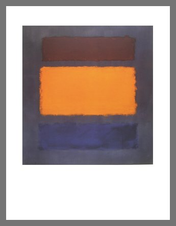 Maroon Rahmen (Mark Rothko Untitled Brown, Orange, Blue on Maroon Poster Kunstdruck Bild im Alu Rahmen in Champagne 90x70cm)