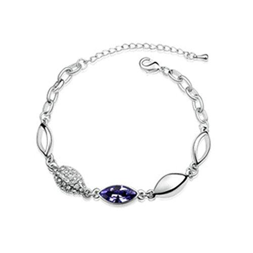 Beydodo Bracelet en Plaqué Or Blanc Pour les Femmes (Chain-Bracelets),Cristal d'Autriche Ovale Violet Oxyde de Zirconium 18CM