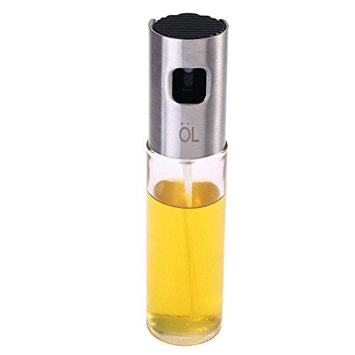 Öl Sprayer, Cuitan Öl Sprühflasche 100ml Ölspender aus Edelstahl und Glas Ölsprüher für BBQ Kochen Grillen Salat Backen Braten Essig (4-unzen-sprühflasche)