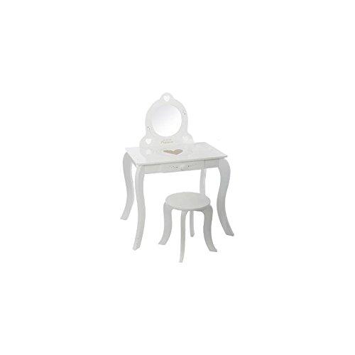 Coiffeuse blanche 60x40x91 cm avec tabouret