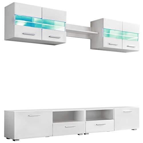 Festnight 5-TLG. TV Wohnwand-Set Wohnzimmer Anbauwand Wohnwand mit LED-Beleuchtung TV-Element Mediawand Hochglanz-Weiß