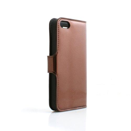 System-s Étui Housse de Protection Case Cover Coque de Protection Rigide Rabat en marron pour Apple iPhone 5