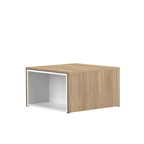 Wood & Colors Symbiosis 2066 A0300 X 00 contemporáneo Mesa Baja modulable Blanco/Roble Natural 120 x 67 x 38,1 cm