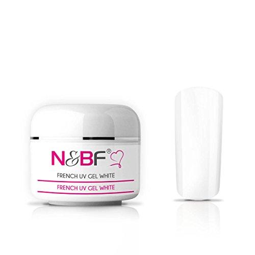 N&BF Gel french UV blanc classique / de couleur blanche, gel pour ongles, gel de couleur pour ongles en gel, faux ongles, manucure, Nails, moyen visqueux 5ml