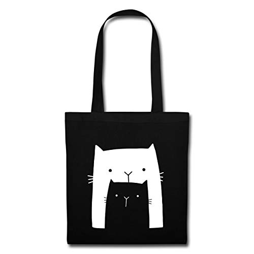 Spreadshirt Große Katze Mit Kleinem Kätzchen Stoffbeutel, Schwarz