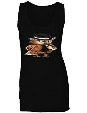 Novedad arrogante elegante del búho divertida camiseta sin mangas mujer a675ft