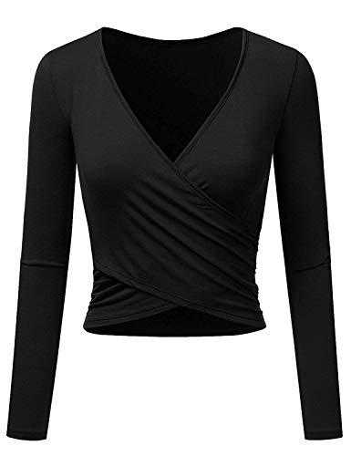 Uniquestyle Frauen Langarm Party Oberteil Tief V-Ausschnitt Crop Tops Slim Fit Shirt Bluse Obertail mit Rüschen (Schwarz, S)