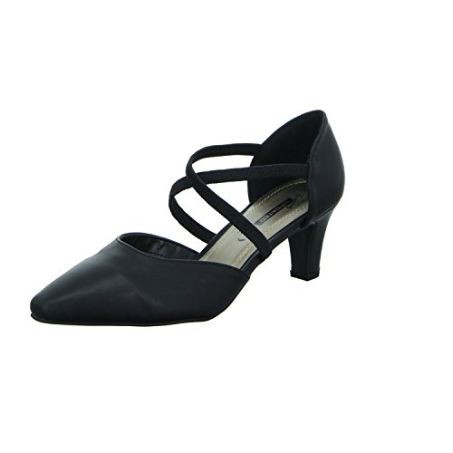 living Updated 224790 Damen Pumps mit Riemen eleganter Boden Schwarz (Schwarz)