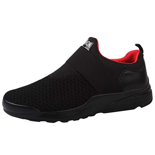 LuckyGirls Zapatillas Sin Cordones de Hombre Calzado Running Bambas Deportivas Zapatos de Correr Slip-On Mocasines (EU41,Negro)