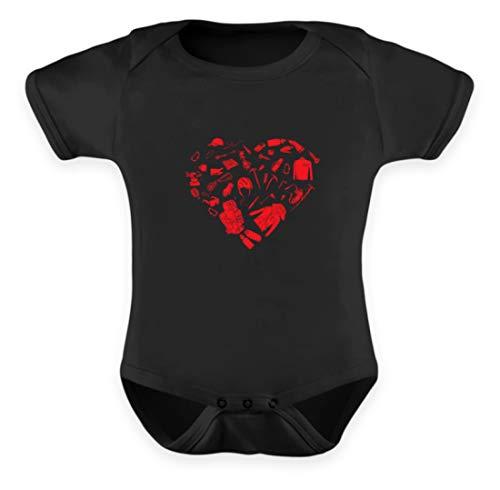 EBENBLATT Bergsteigen Ausrüstung Herz Klettern Climber Geschenk - Baby Body -0-6 Monate-Schwarz