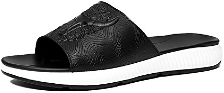 Zapatos atléticos de los Hombres Sandalias de Cuero del Verano Zapatillas Sandalias de Suela Gruesa Impermeable... -