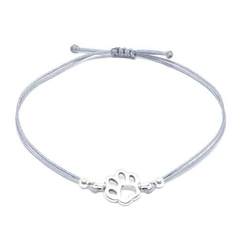 SelfmadeJewelry - Bracciale con ciondolo in argento a forma di zampa, grigio, realizzato a mano e regolabile