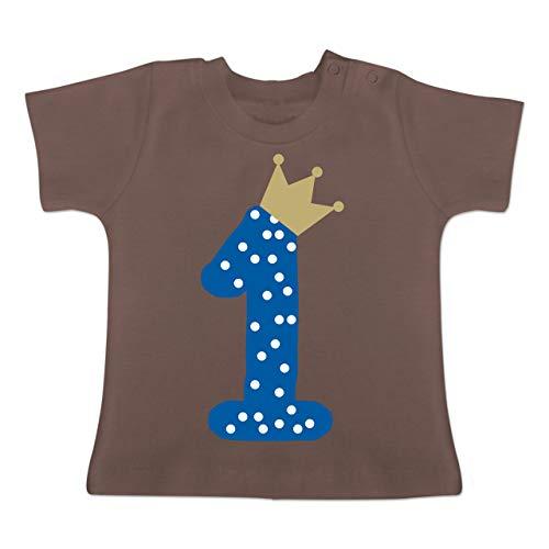Geburtstag Baby - 1. Geburtstag Krone Junge Erster - 1-3 Monate - Braun - BZ02 - Baby T-Shirt Kurzarm