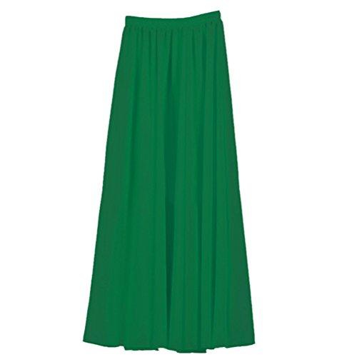 Nlife Frauen-Doppelte Schicht Chiffon- gefalteter Retro- langer Maxi Rock-elastischer Taillen-Rock, 100cm, Farbe: Dusty Green