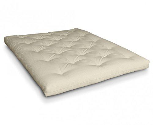 Futon Roku Baumwollfuton Futonmatratze mit 8x Baumwolle von Futononline, Größe:120 x 200 cm, Color Futon SE Amazon:Natur/Filz weiß - Baumwolle Futon