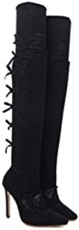 MYI Scarpe da Donna Sottili Sottili Sottili Stivali di Pizzo Ultra-Belli con Stivali Alti a Punta con Fiocco | finitura  98bd0c