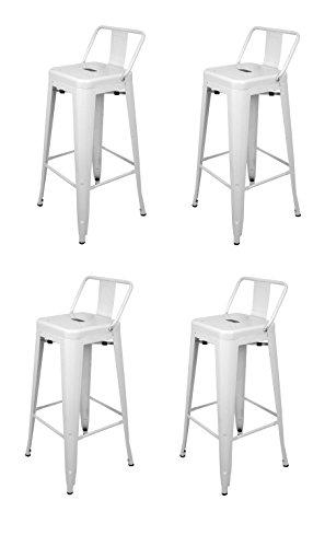 La Chaise Espagnole - Lot de 4 Tabourets de style Tolix avec dossier, Blanc, 94x44,5x44,5
