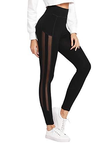 SOLY HUX Damen Mesh Leggins Streifen Netzstoff Laufhose Sport Leggings Capris Yoga Pants Training Hose Farbblock Schwarz XS -