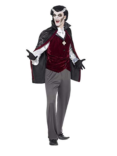 Smiffys 45528XL - Herren Vampir Kostüm, Hose, Shirt, Weste, Umhang und Handschuhe, Größe: XL, schwarz
