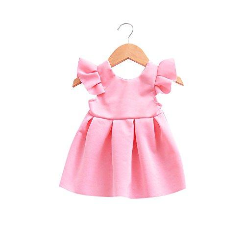 JUTOO Kleinkind Baby mädchen Bogen Knoten rückenfreies Kleid Prinzessin Outfits Kleidung Spitzenkleid (Rosa, ()