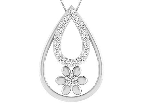 Or Blanc 9 ct Pendentifs Diamant en forme de poire, 0.11 Ct Diamant, GH-SI, 0.53 grammes.