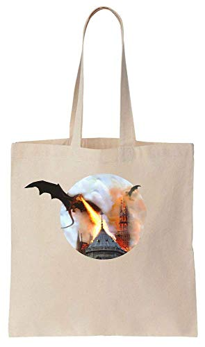 Dragons Burning The Notre Dame Cathedral Fire And Blood Epic Battle Mashup Cotton Canvas Tote Bag (Epic Battle Dragon)