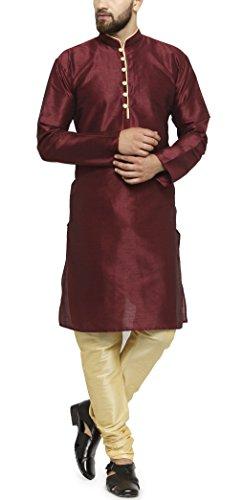 Ben Martin Men's Dupion Silk Blend Kurta Pyjama (Abmw-Dkp-800-Mrn-40,Maroon)