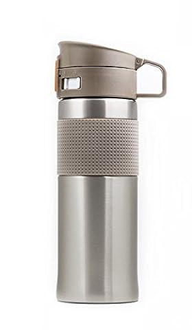 Thermos en acier inoxydable–500ml avec SIP Tasse à manches et grip en caoutchouc, Gris argenté, 16.9oz