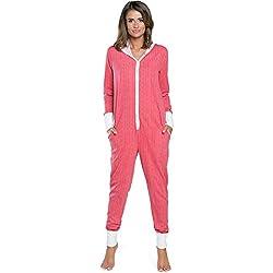 Italian Fashion IF Combinaison Pyjama Grenouillère Vêtements d'Intérieur Femme IFS18016 (Framboise, M)