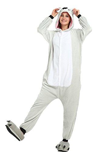 Süßes Einhorn Overalls Jumpsuits Pyjama Fleece Nachtwäsche Schlaflosigkeit Halloween Weihnachten Karneval Party Cosplay Kostüme für Unisex Kinder und Erwachsene (S, Koala)