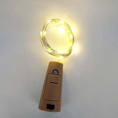 Neborn 2M 20 LED Wein Flasche Lichter Kork Batterie Powered Girlande DIY Weihnachten String Lichter Für Party Halloween Hochzeit Decoracion (Warmes Weiß)