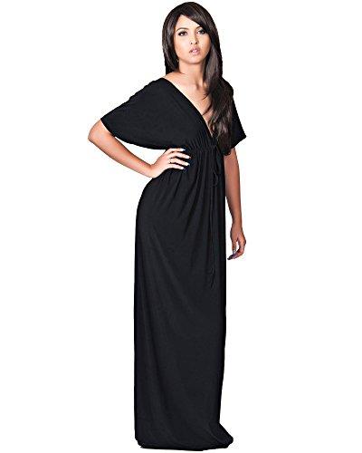 KOH KOH Femmes de Longue Sexy V -Neck Kimon Manches El?gant Soir?e Cocktail Maxi Dress Noir