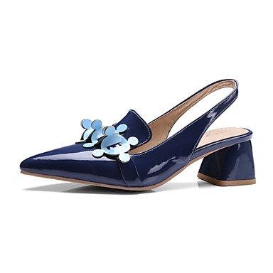 Frauen Heels Frühling Sommer Herbst Club Schuhe Komfort Neuheit Lack Glitter kundenspezifischen Materialien Hochzeit im Freien Dress Casual Blue
