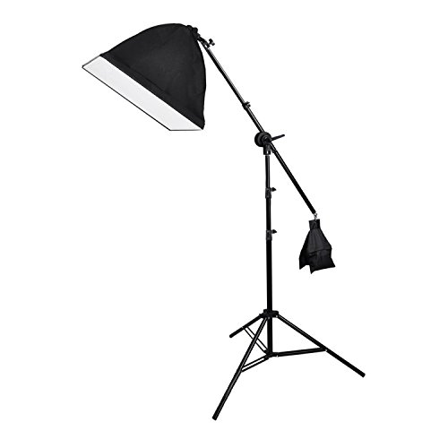Fotostudio Galgenstativ Softbox Lampenstativ mit 135W Lampe + 1.5m Teleskopstange