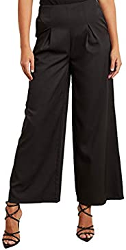 Pleated Front Detail Wide Leg Trouser with Side Zip Closure 10338701 For Women Closet by Styli
