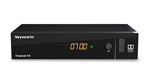 SKYWORTH SKW-T21 digitaler DVB-T2 HD Receiver [H.265, HDMI, Irdeto: geeignet für freenet TV] - [HDMI, SCART, USB, Ethernet, digitaler Koaxialausgang] - schwarz